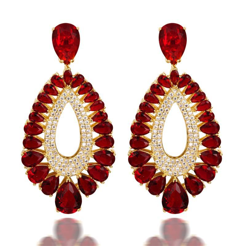 Popo Women S Deluxe Fashion Design Stud Earrings Emerald Montana Crystal Clear Red Color Combinations Siam Gold Plated In From Jewelry