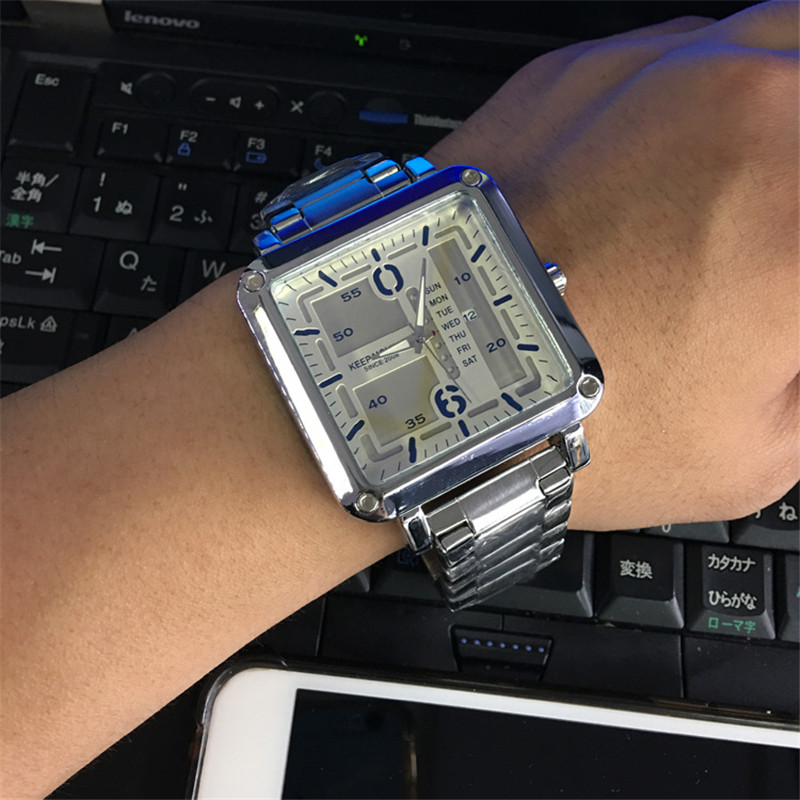 цены Large dial square calendar men Top Brand Luxury Fashion Business quartz watch Men Sport Full Steel Waterproof Wristwatch relogio