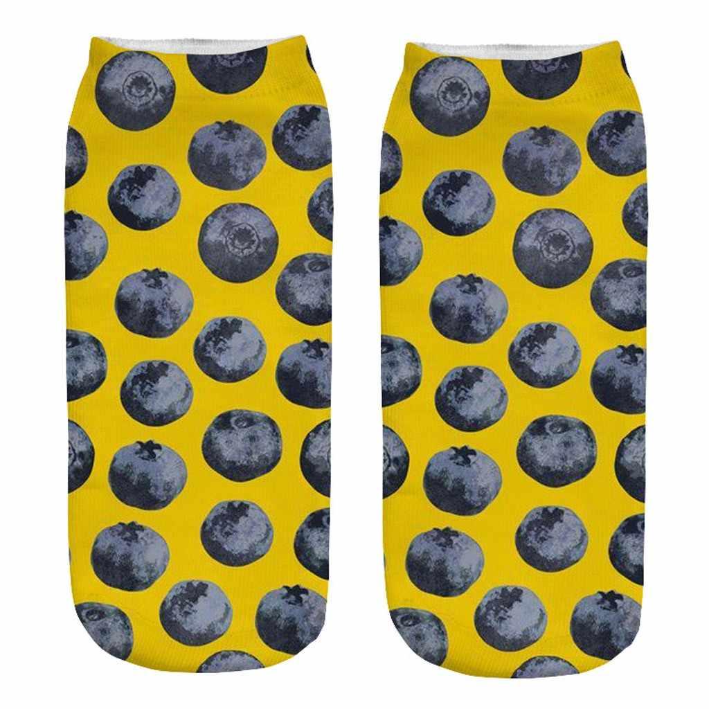 Offre spéciale chaussettes femmes dessin animé 3D drôle fou mignon Fruit incroyable nouveauté imprimer cheville chaussettes drôles calcetines mujer