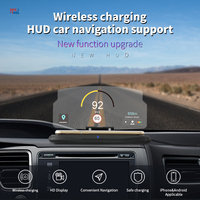 2 In 1 HUD Car Wireless Charger Car Mobile Phone GPS Navigation Holder Stand Projector Bracket Support QI Fast Charging