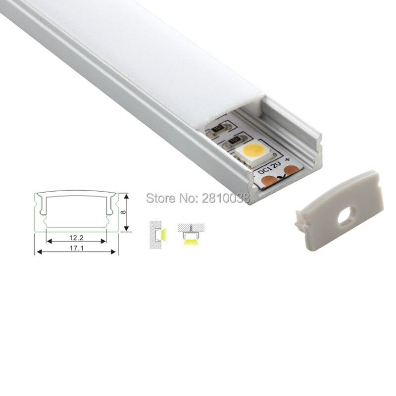 100 X 1M komplekti / partija Labas kvalitātes alumīnija profila vadīts sloksnes apgaismojums vai LED kanāls alumīnijam sienas vai grīdas apgaismojumam