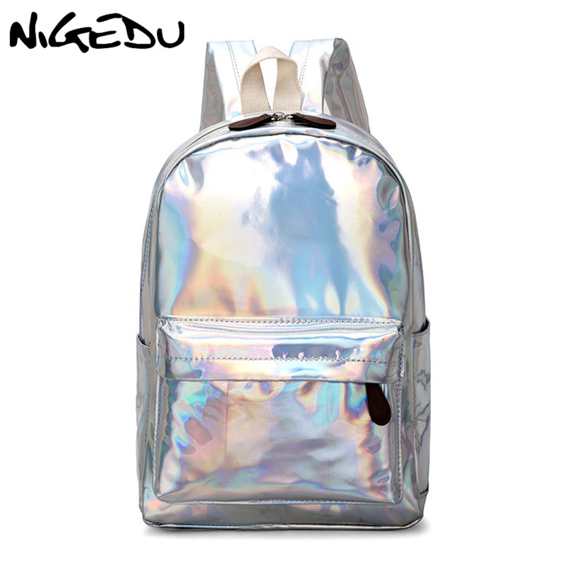 Kpop Fashion Women Backpack Mirror Reflective Laser School Bag For Teenagers Girls Famous Design Female Daypack Shining Backpack