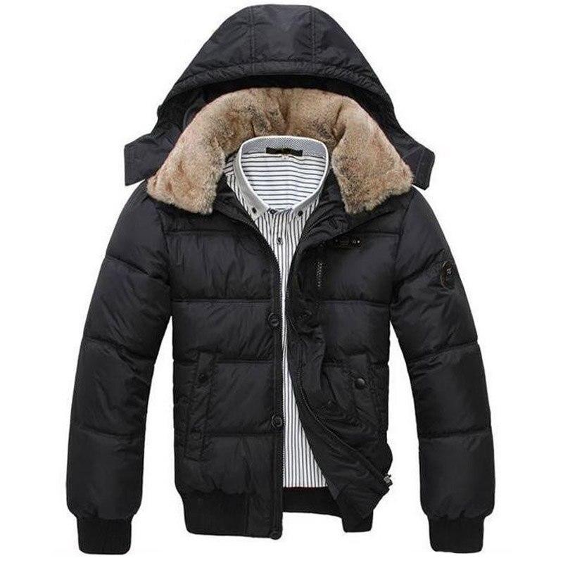 2019 Winter Jacket Men Thick Warm Solid Color Men's Coat Hat Detachable Necessary Coat Black White Size M-XXXL MWM001