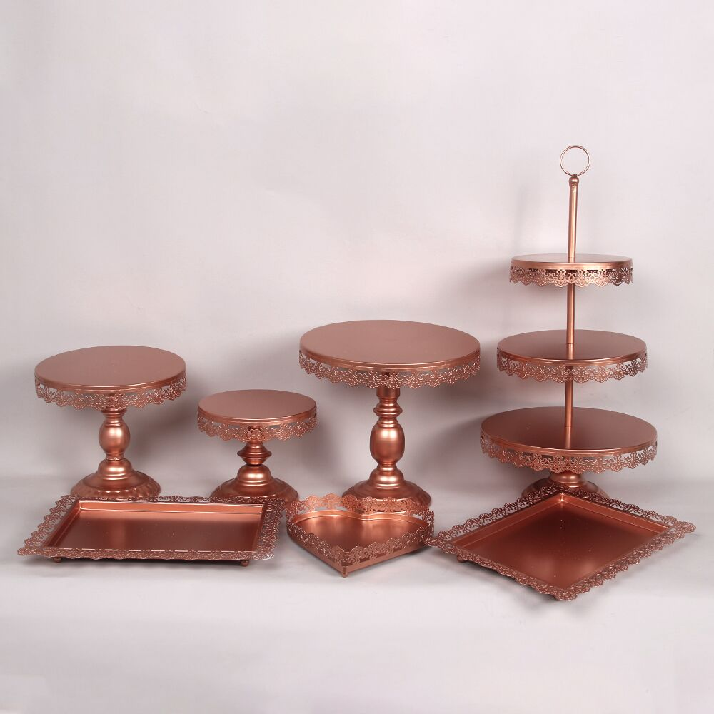 new set rose Gold Wedding Dessert Tray Cake Stand Cupcake Pan cake display table decoration Party Supply 7PCS / Set