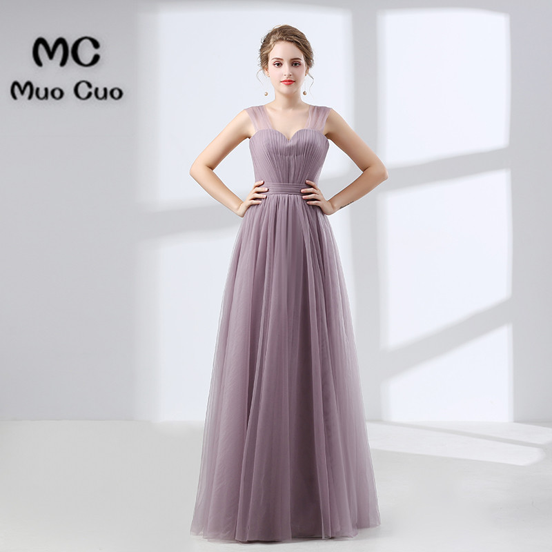 2018 Long   Bridesmaid     Dress   Maid of Honer Tulle Wedding Party   Dress   Pleated Floor Length Zipper Back Women's   Bridesmaid     Dress