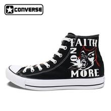 Черные Converse All Star Для женщин Мужская обувь Калифорния Faith больше Дизайн ручная роспись обувь Высокий Верх женщина мужчина кроссовки подарки