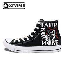 Black Converse All Star Women Men Shoes California Faith No More Design Hand Painted Shoes High Top Woman Man Sneakers Gifts