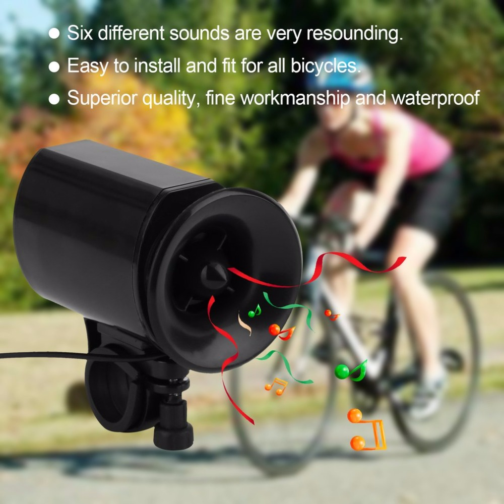 6 Sound Electronic Bike Bell Ring Siren Warning Horn Ultra Loud Voice Speaker Bicycle Accessory Black drop shipping