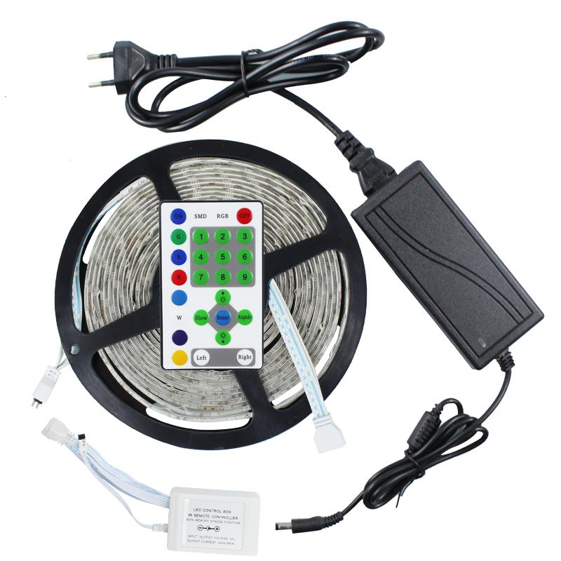 5M 270LEDs SMD 5050 IP65 Waterproof Horse Race RGB LED Strip light + 25 keys IR remote Controller + 12 V 6A Power adapter rgb led strip 5m 5050 non waterproof flexible light 44 keys ir remote dc12v power adapter high brightness led strip light