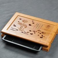 Lotus and Fish * Bamboo Gongfu Tea Table Serving Tray 40*28cm Bamboo Tea Table Kungfu Tea Ceremony TeaBoard