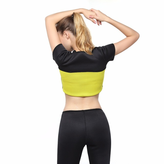 Hot Shapers Waist-Trimmer Slimming Shirt Thermo Neoprene Waist Trainer Shirt Ultra Sweat Body Shaper Slim Fitness Control Corset