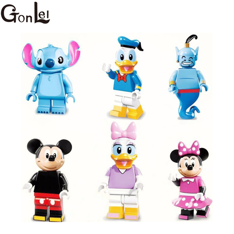GonLeI 6PCS Cartoon Mouse Duck Series Daisy Kit Genie Mickey Mouse Duck, and Stitch Super hero Blocks kid toys 892 promotion 6pcs mickey mouse 100