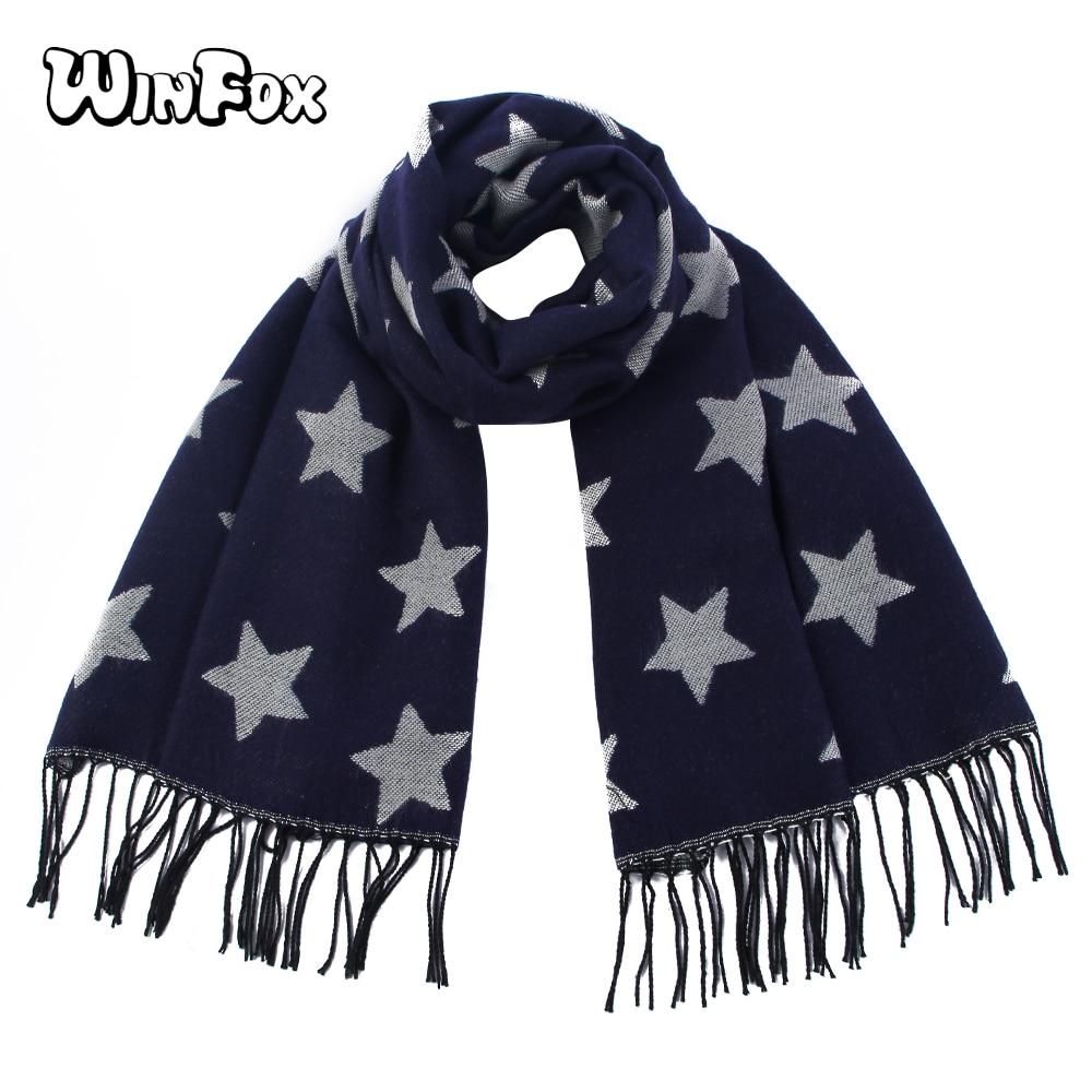 Winfox 2018 Navy Star Print Women's Cashmere Winter Tassel   Scarf     Wrap   Knitted Tippet Female Wool Oversize Blanket   Scarves   Shawl