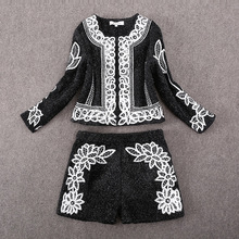 2015 Autumn /winter new girls's Silver wool embroidery jacket coat+shorts twinset