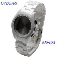 Wrist watchband 22mm Watch Accessories White Ceramic Watch Strap watch case deployment Watch buckle For AR1403 Strap Bracelet