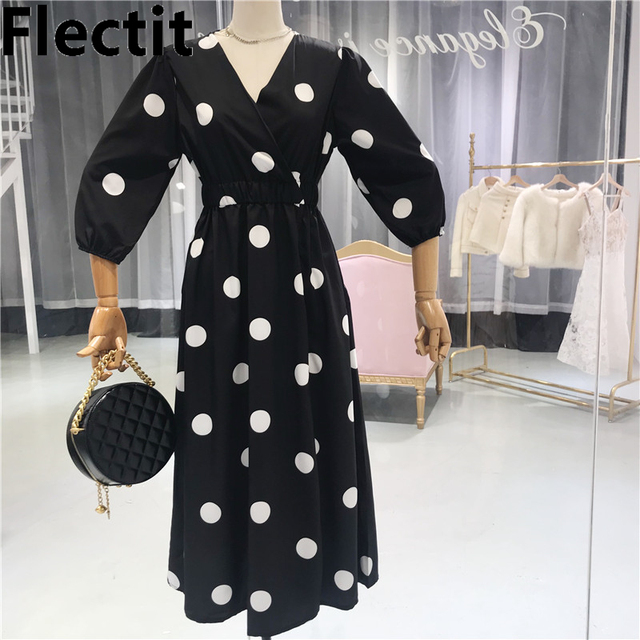 c8cc8ee8560b4 US $20.69 31% OFF|Flectit French Blogger Black Polka Dot Wrap Dress with  Pocket Slit Self Tie High Waist V Neck Retro Women Midi Dress-in Dresses  from ...