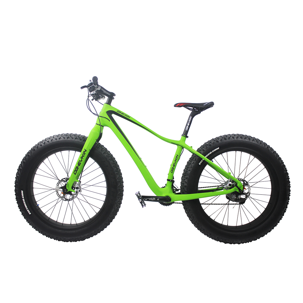 OG-EVKIN Winter Carbon Fiber 26ER Snow Fat Complete Bike Cycling Mountain Green Bicycles Ciclismo BICICLETA Completa Size 17.5