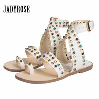 Jady Rose White Women Genuine Leather Flat Sandal Rivets Studded Gladiator Sandals Flat Beach Shoes Woman Casual Ladies Shoes