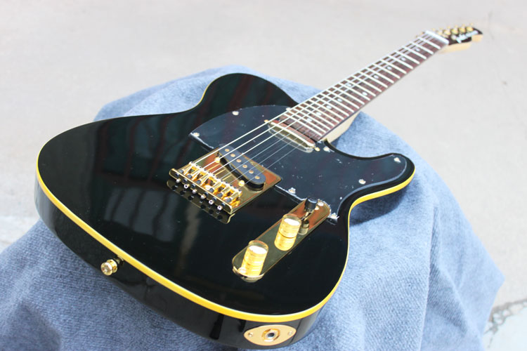 Free shipping TL matte black yellow binding rosewood fingerboard OEM electric guitar new arrival tele guitar matte black finish as jim root tl guitar locking knobs maple fingerboard real guitar pictures free ship
