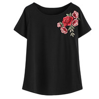 2017 Women Fashion Summer Rose Embroidered T Shirt Blouse Short Sleeve Tops