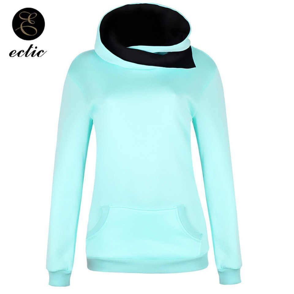 Sport Outfit Winter Pullover Sweatshirts Womens Cotton Ulzzang Turtleneck  Poleron Mujer 2018 Kangaroo Pocket Hoodie Plain bd5e63440269