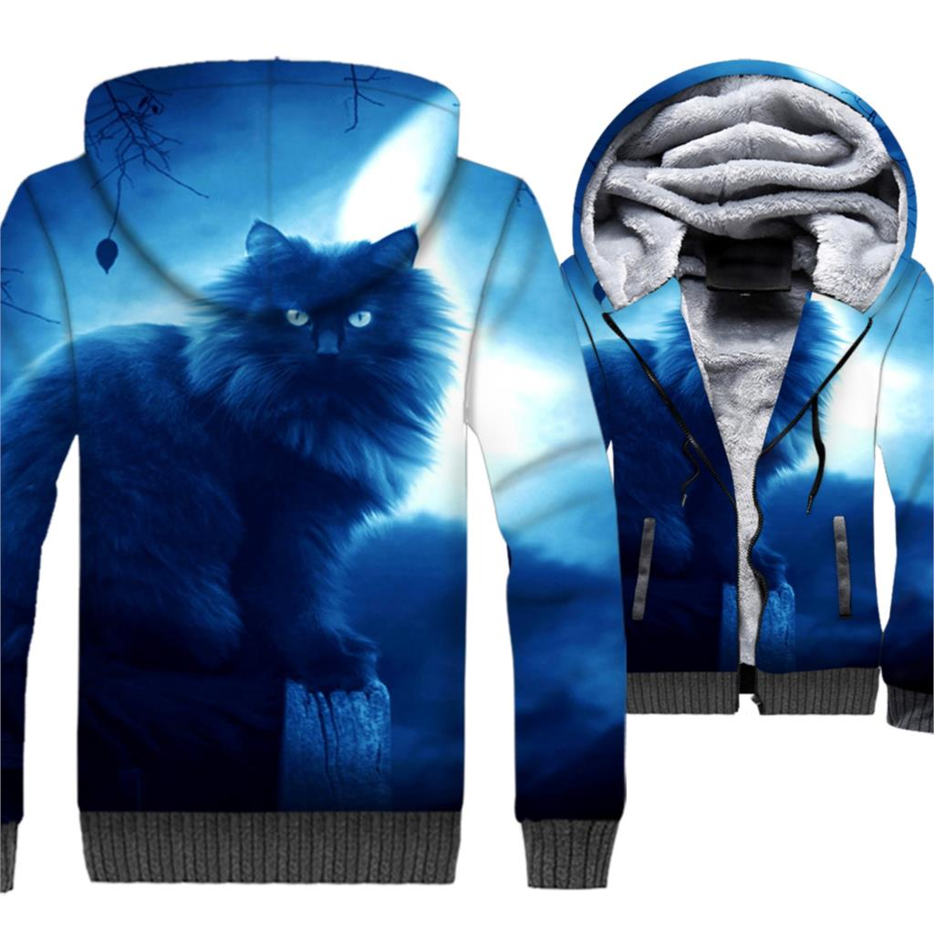 3d Black Hoodies Fashion Cat eye Print Hot Selling Sportswear New Arrival Pullover M-5XL Oversize Coats Winter Man Jackets Thick