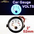 """2 """"52mm Calibre Carro VOLTS Medidor Medidores de Tensão 8 ~ 16 V Azul Luz Do Carro Preto Shell 12 V Automotive Gauges"""