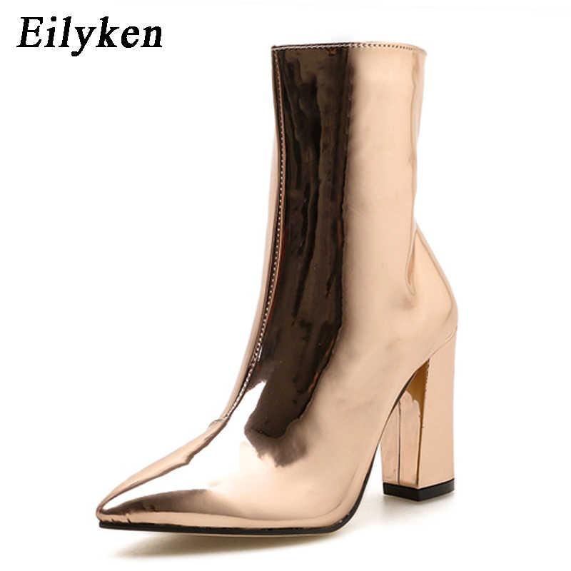 Eilyken Mode Goud Zilver Lakleer Vrouwen Enkellaarsjes Puntschoen Hoge Hak Laarzen Sexy Stiletto Vrouwen Pompen Chelsea Laarzen