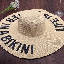 2018 nuevo bordado carta sombreros grandes Brim sombreros de paja para las mujeres  verano sombrero Panamá a5bc58dac2a