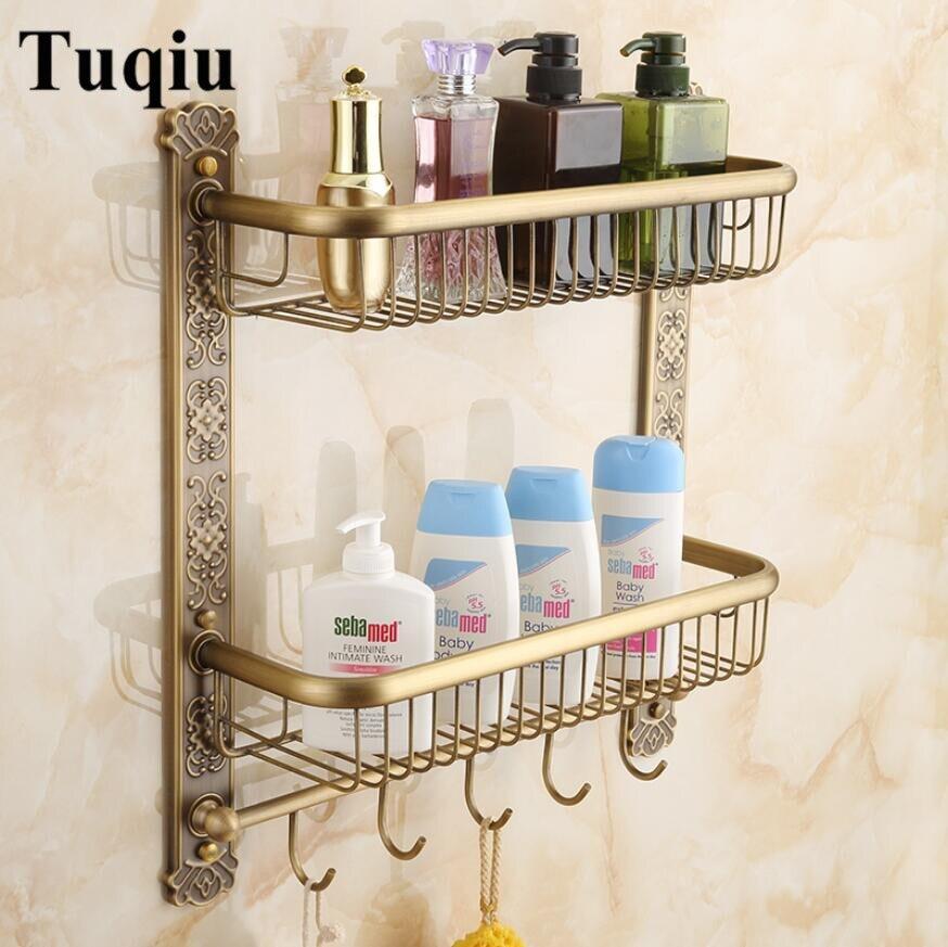 Parete In Ottone Antico Mensola del bagno con portasciugamani e robe ganci Bagno Shampoo mensola doppia tiers Intagliato mensola Angolare - 5