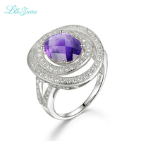 Beautiful Natural Amethyst Purple S925 Silver Plated Platinum Fashion For Woman Romantic Ring