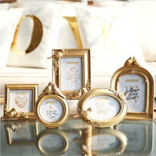European Bird And Flower Resin Photo Frame 3 Inch 6 7 Embossed Luxury Bright Gold Creative Set Stand