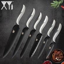 XYj нержавеющая сталь кухонные ножи 6 шт. Дельфин дизайн ручка черный клинок шеф повар хлеб нарезки Santoku ножи для чистки овощей и фруктов