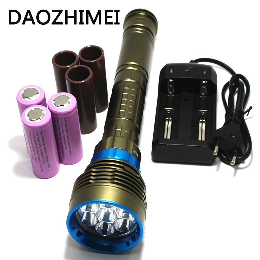 70W 14000Lm 7xXM-L2 LED Diving Flashlight 100M Diver Flash Light Waterproof Torch Lanterna+3x26650 Battery+Charger Lamps sy 068 diver 100m waterproof 5xcree xml l2 led diving flashlight 8000lm torch magnetic switch lanterna 18650 battery charger