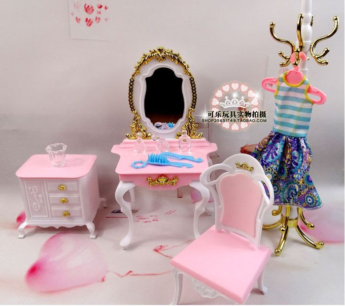 New Princess Dresser Chair Table Set / Dollhouse Furniture Puzzle Baby Toy Bedroom Accessories Decoration for Barbie Kurhn Doll