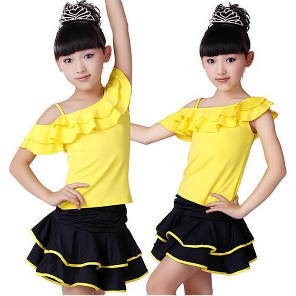 Sweet Children Latin Dance Skirt Girl Oblique Harness Dress 100-160cm Perform Clothes Latin Test Training Skirts Tutu
