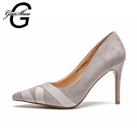 GENSHUO Elegant Women Pumps High Heels Shoes Bandage Wedding Pumps Brand Design Pointed Toe High Heels Shoes Black Pink Size 33