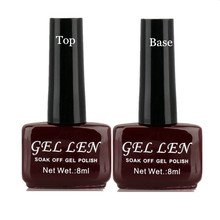 GELLEN 2Pcs/lot UV Top Coat + UV Base Coat Foundation for UV Gel Polish Top it off long lasting Bling Nail Gel 8ml