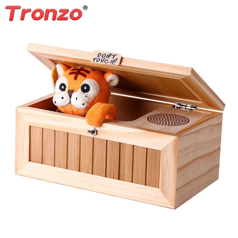 Tronzo деревянный бесполезный Box электронные игрушки Kawaii Тигр новизна и Gag игрушки подарок для детей анти-стресс Ящик для игрушек оптовая прода...