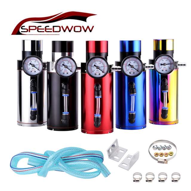 SPEEDWOW Universal Aluminum Engine Oil Catch Reservoir Breather Tank Can With Vacuum Pressure Gauge Oil Catch Can Tank