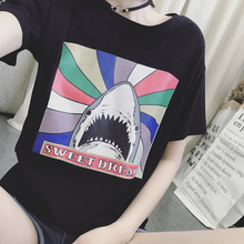S-xxxl Large Size Summer White Women T Shirt Casual Cartoon Shark Print Short Sleeve Streetwear Fashion Plus Clothing