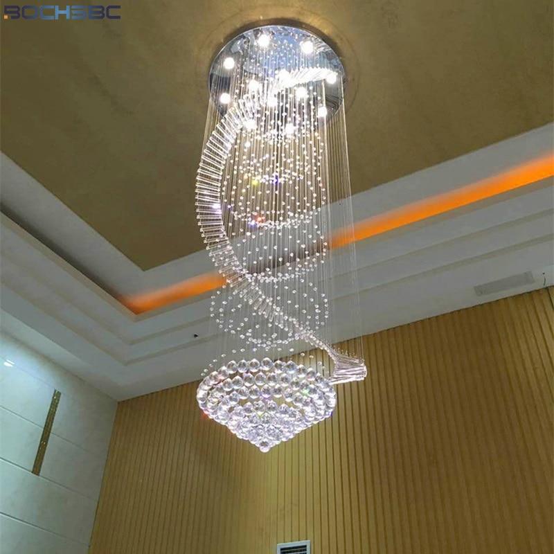 Us 250 32 16 Off Bochsbc K9 Crystal Chandeliers Dna Design Art Lighting Fixtures Stairs Suspension Luminaire Villa Lamp For Living Room Bedroom In