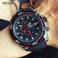 Бренд MEGIR Мужские Бизнес часы Роскошный кожаный ремешок хронограф кварцевые военные наручные часы Мужские часы Relogio Masculino 2023
