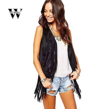 2018 Women Autumn Winter Faux Suede Ethnic Sleeveless Tassels Fringed Vest Cardigan Hot sale drop shipping Apr 22(China)