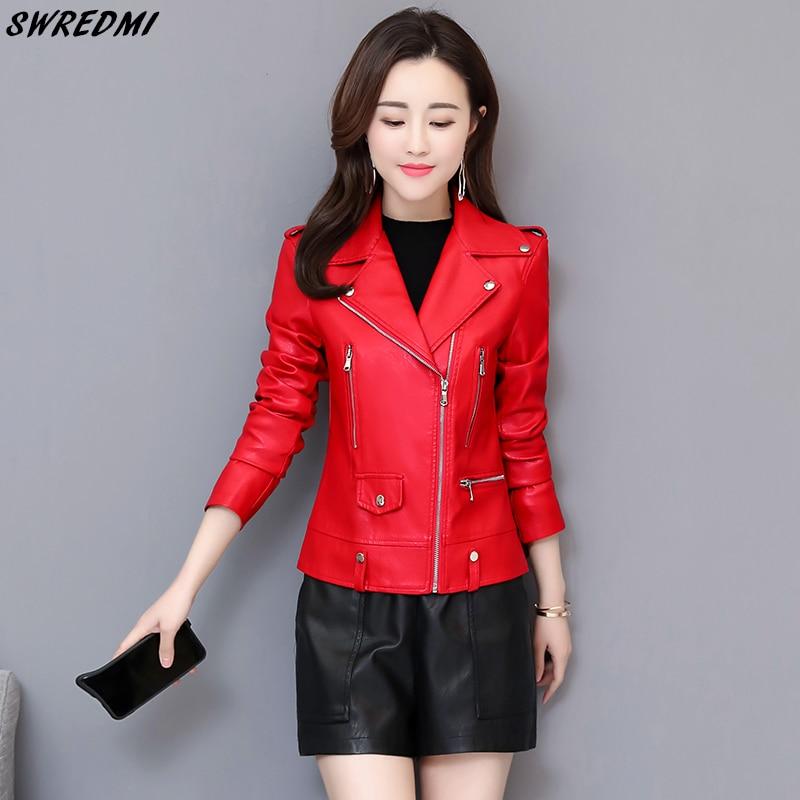 SWREDMI 2019 Spring   Leather   Women Jacket Red Slim Casual Epaulet   Leather   Coat Female Motorcycle Clothing   Leather   Autumn