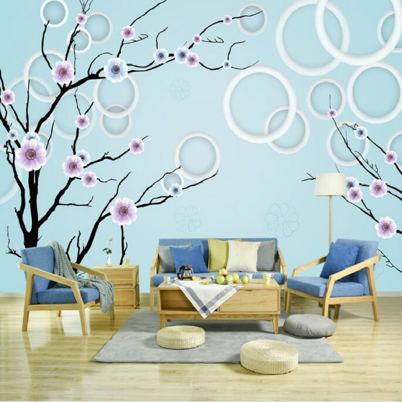 Fashion Circle Flowers Birds Large Mural Wallpaper Living Room Bedroom Wallpaper Painting TV Backdrop 3D Wallpapers for wall free shipping england wind red white blue fashion backdrop tv backdrop bedroom living room mural wallpaper