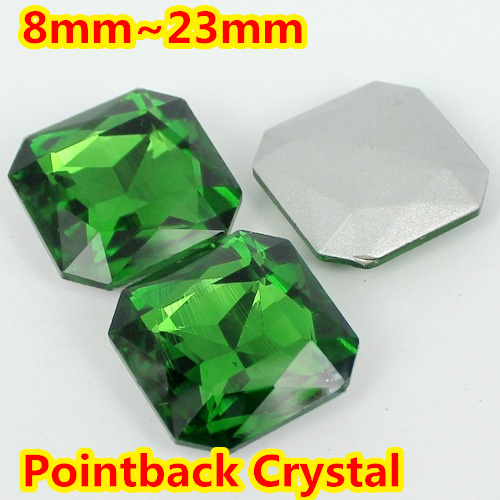 Emerald Square Shape Crystal Fancy Stone Point Back Glass Stone For DIY Jewelry Accessory.8mm 10mm 12mm 14mm 18mm 23mm emerald