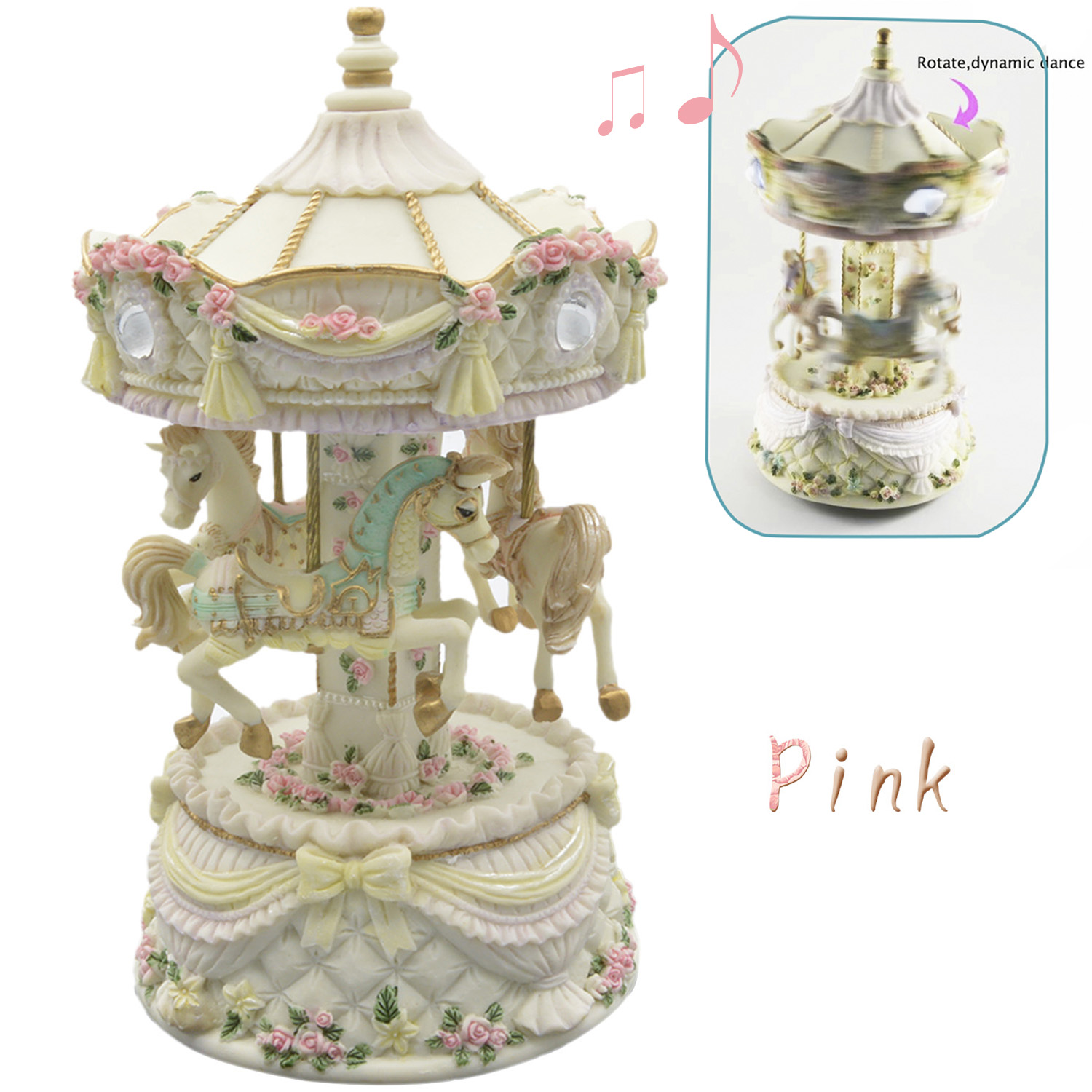 Bevigac Carousel Horses Rotating Craft Music Musical Box Decoration in the Sky Home Holiday Birthday Christmas Gifts Present