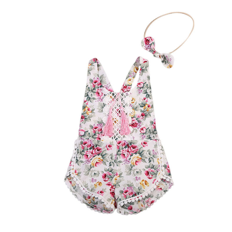 2017 Toddler Kids Girls Floral Romper Summer Sleeveless Backless Tassel Lace Jumpsuit+Headband 2PCS Baby Girl Sunsuit Outfits 2017 summer toddler kids girls striped baby romper off shoulder flare sleeve cotton clothes jumpsuit outfits sunsuit 0 4t