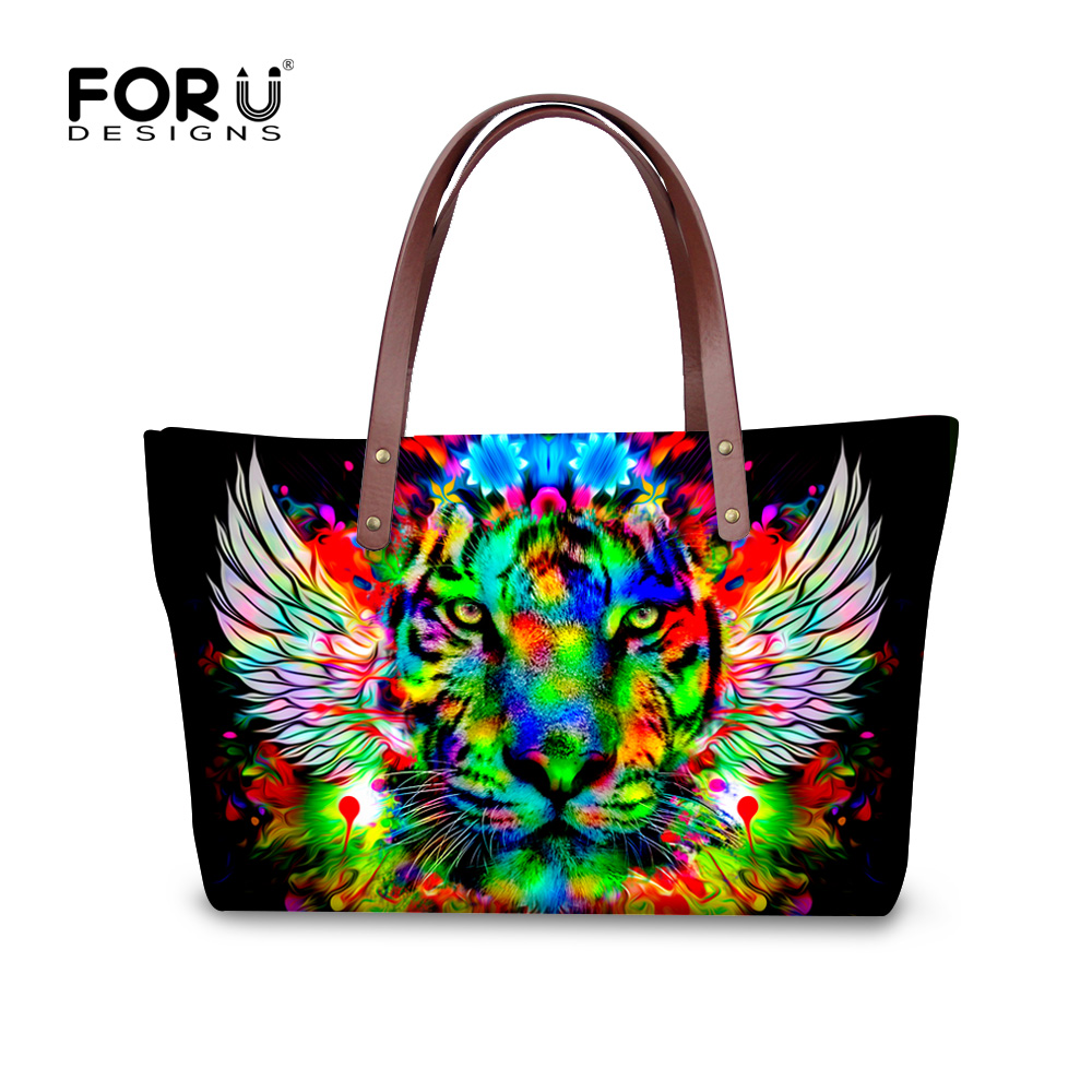 ФОТО Famous  Women Tote Bags 3D Zoo Animal Handbags for Lady Shopping Travel Pack Large Capacity Tiger Cat Head Messenger